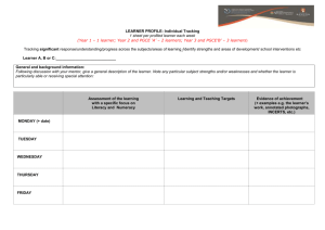 LEARNER PROFILE: Individual Tracking 1 sheet per profiled learner