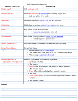 Cell Theory and Organization CUE WORDS or QUESTIONS NOTES
