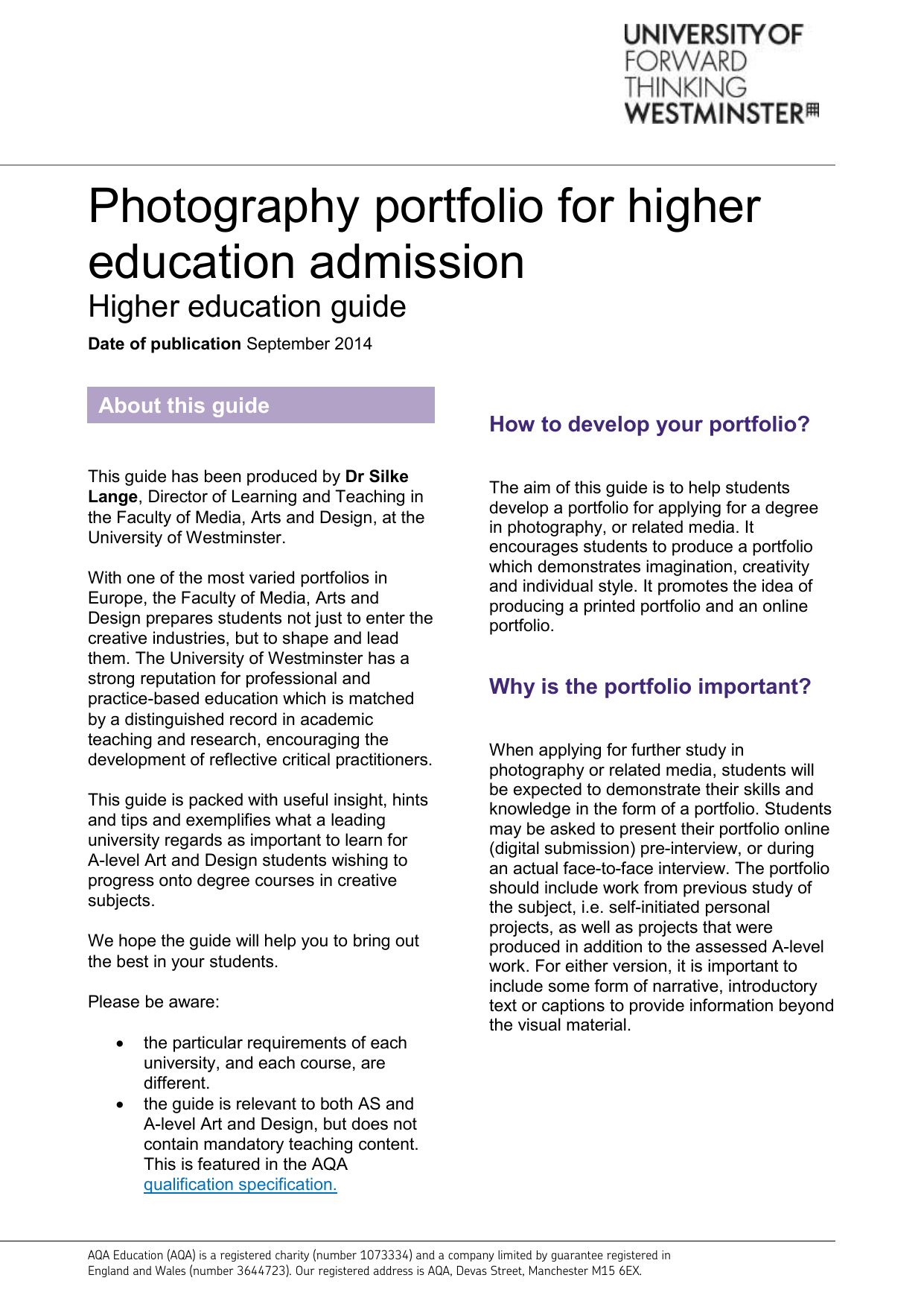 Photography portfolio for higher education admission