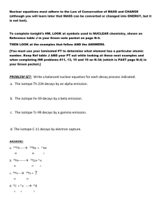 Nuclear equations Background Info