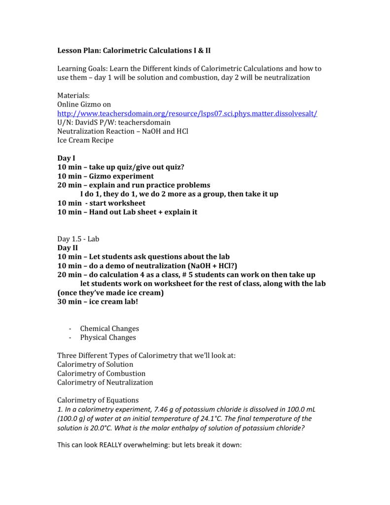 Worksheets Calorimetry Worksheet 12chem lesson plan calorimetry i