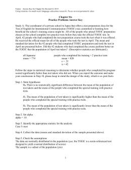 Turner Answer Key for Chapter Six Revised 4 2 2015 Using statistics
