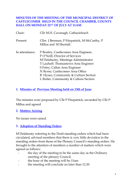 Minutes Municipal District of Castlecomer July 2014