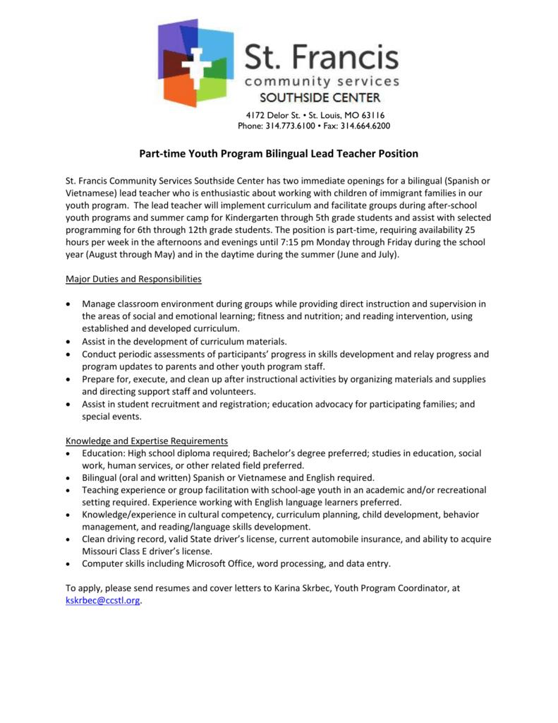 Job Posting - Youth Program Bilingual Lead Teacher