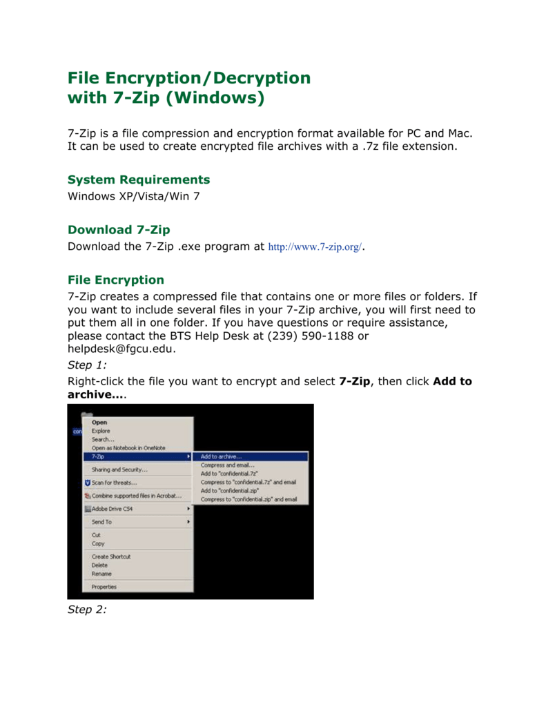 File Encryption/Decryption with 7