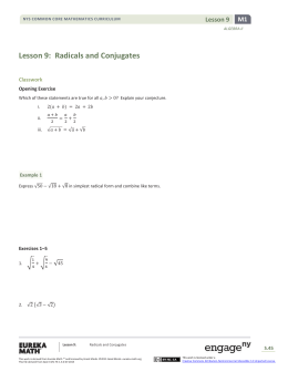 Lesson 9: Radicals and Conjugates