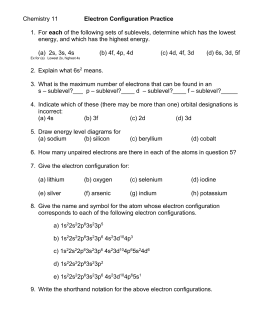 Electron Configurations Worksheet I Answers