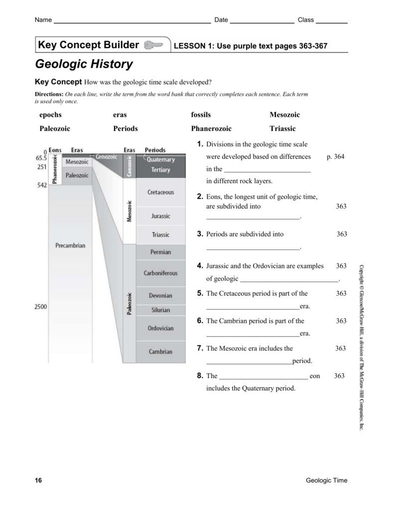 Geologic Time Scale Worksheet Middle School Geologic