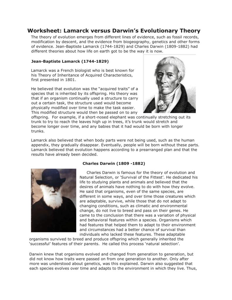 darwin und lamarck evolutionstheorie