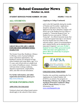 School Counselor News - Green Bay Area Public School District