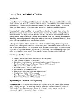 Literary Theory and Schools of Criticism