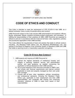 code of ethics and conduct - University of Maryland, Baltimore