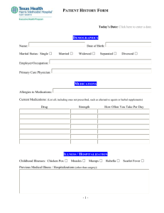 Patient History Form - Texas Health Resources