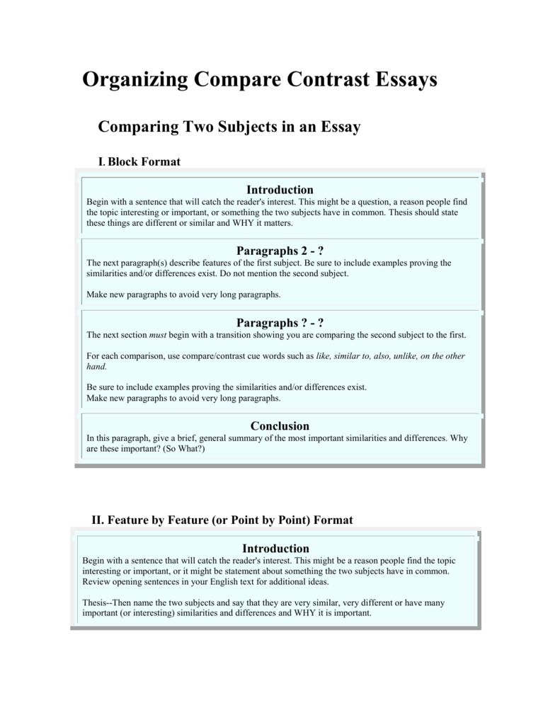 How to organize a compare and contrast essay