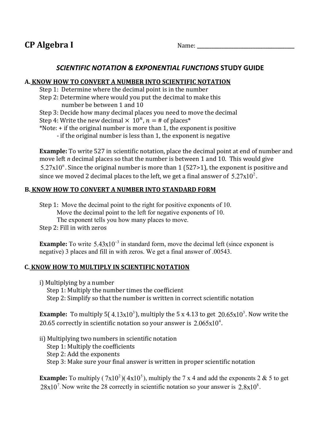 Scientific Notation And 76 Quiz Study Guide
