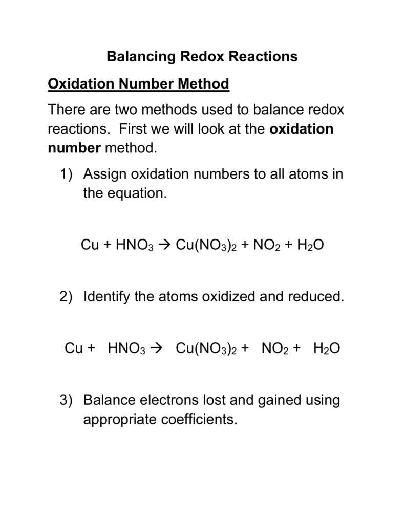 Balancing Redox Reactions Oxidation Number Method