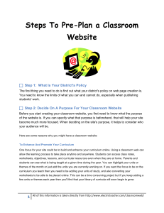 Steps To Pre-Plan a Classroom Website