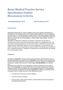 Rheumatoid Arthritis Specification 2015