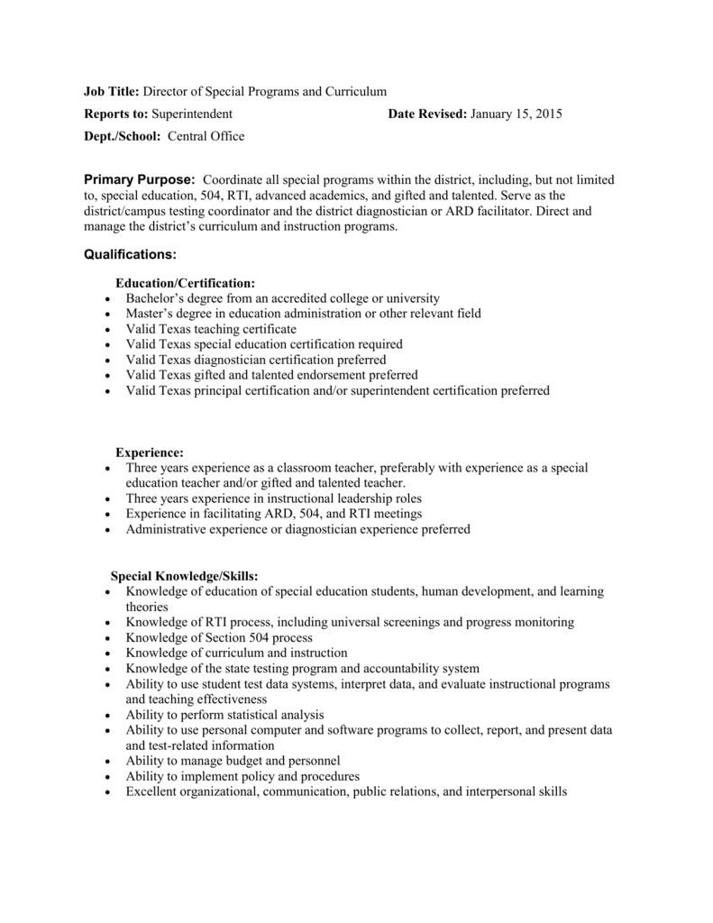Job Title: Director of Special Programs and Curriculum Reports to