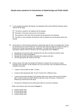Sample exam questions for Introduction to Epidemiology - Di-Et-Tri