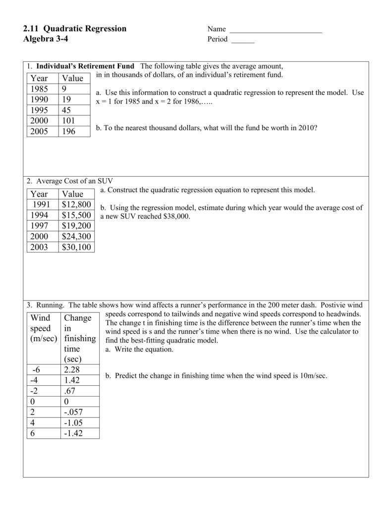 Worksheets Quadratic Regression Worksheet 2 11 quadratic regression