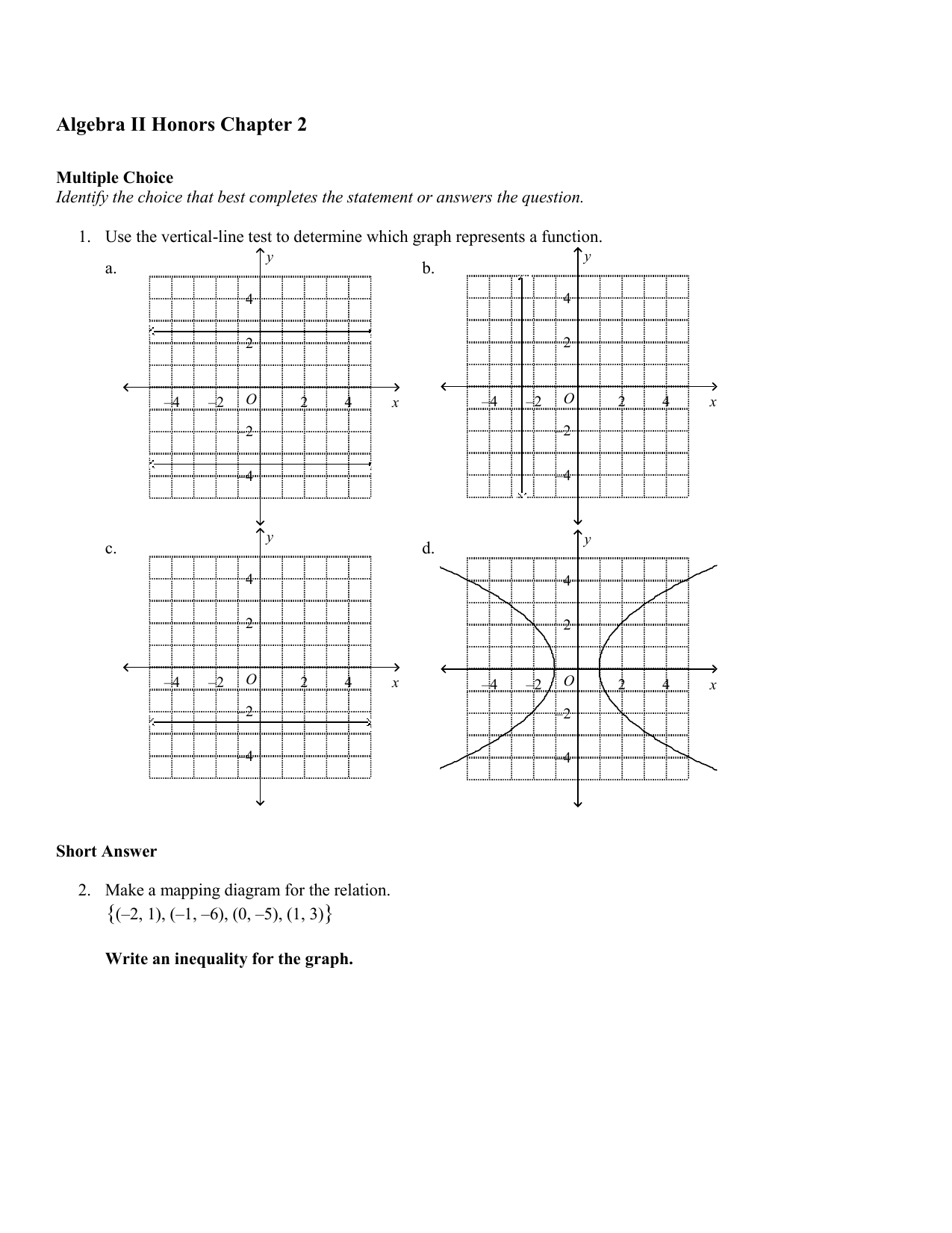 Worksheets Vertical Line Test Worksheet algebra ii honors chapter 2 answer section
