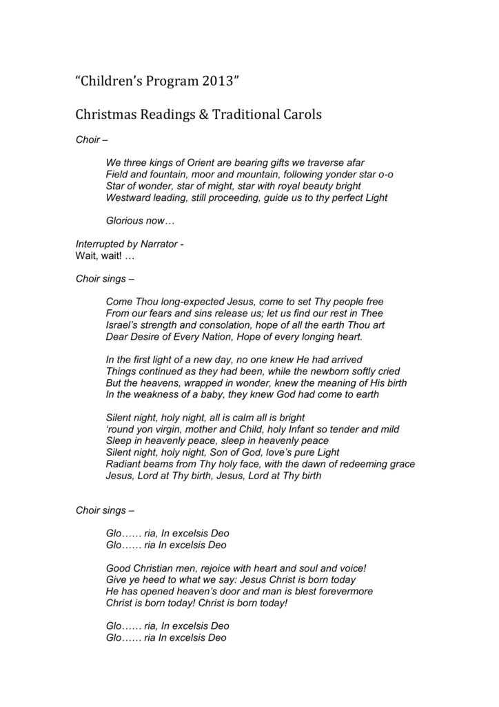 Christmas Readings.Children S Program 2013 Christmas Readings Traditional Carols