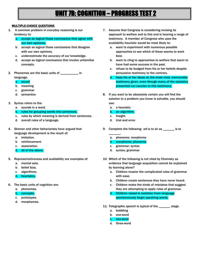 unit 7b: cognition – progress test 2