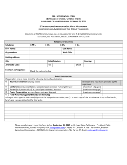 PRE - REGISTRATION FORM (Expression of Interest / Letter of