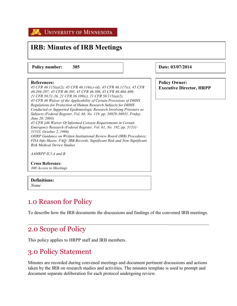 minutes of irb meetings institutional review board
