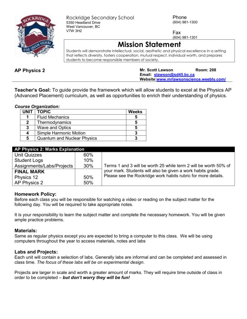 Physics 12 Course Outline - Mr  Lawson`s Website