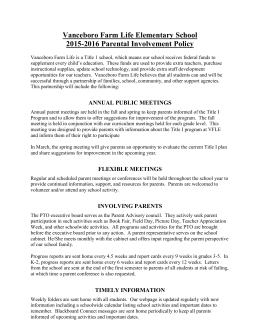 Parent Involvement Policy - Vanceboro Farm Life Elementary School
