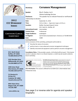 2012 CCC Workshop Series Continuing Clinical Competency