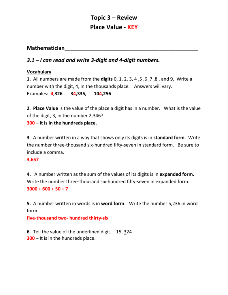 Worksheet Round To The Place Value Of The Underlined Digit link to topic 3 review with answer key