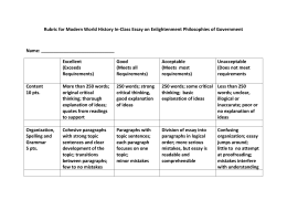 Rubric for Modern World History In