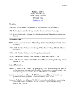 Julie Earles CV June 1, 2015