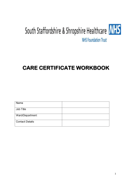 Care Certificate Workbook - South Staffordshire and Shropshire