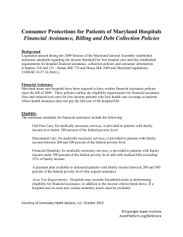 Consumer Protections for Patients of Maryland Hospitals