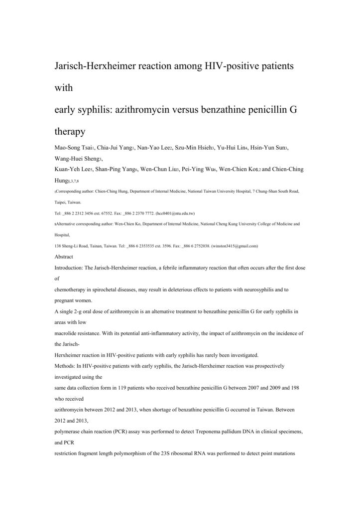 Research article Jarisch-Herxheimer reaction among HIV