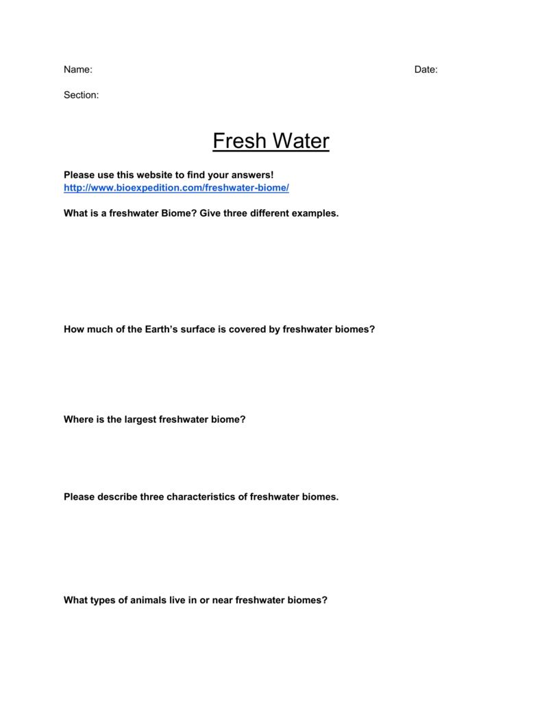 Fresh Water Worksheet