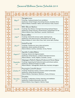 Seasonal Wellness Series Schedule 2014