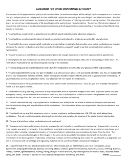 Narcotic Pain Management Agreement
