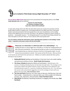You`re invited to Third Grade Literacy Night November 17 th 2014!