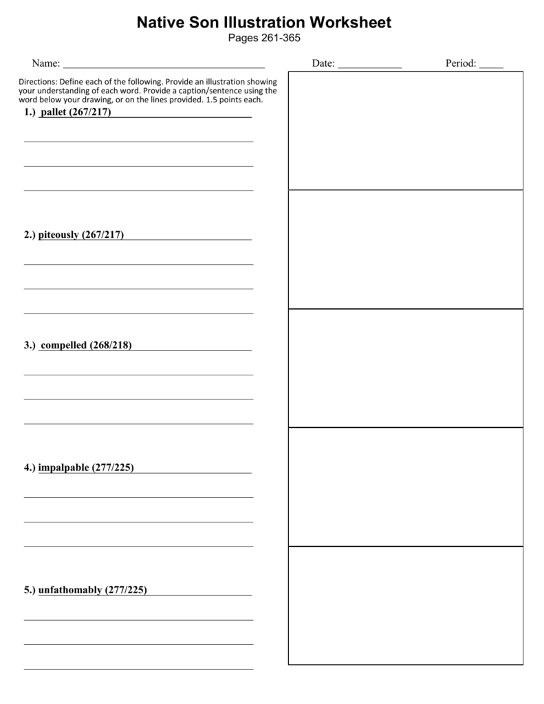 Vocabulary Illustration Worksheet