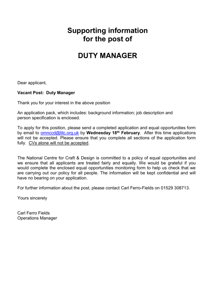 Duty Manager Information Pack