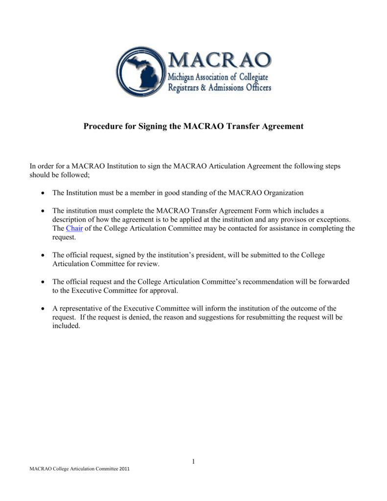Procedure For Signing The Macrao Transfer Agreement