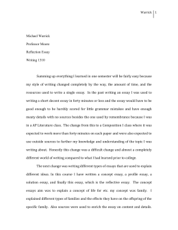 reflection essay mwarrick
