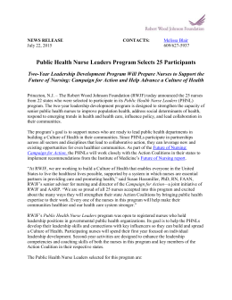 Public Health Nurse Leaders Program Selects 25 Participants Two
