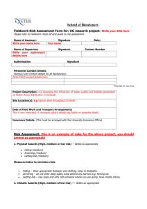 Risk Assessment Form for Ecological Fieldwork