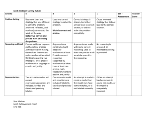 Math Problem Solving Rubric and Checklist For grades 5